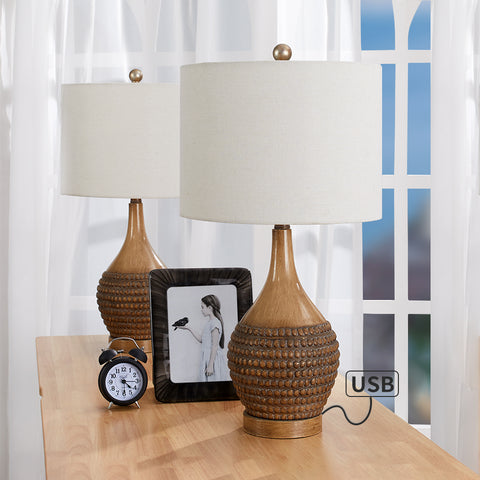 "Maxax 24.75"" Brown Table Lamp Set with USB (Set of 2) #T12"