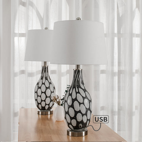 "Maxax 27.37"" White/Gray Table Lamp Set with USB #T14-GW"