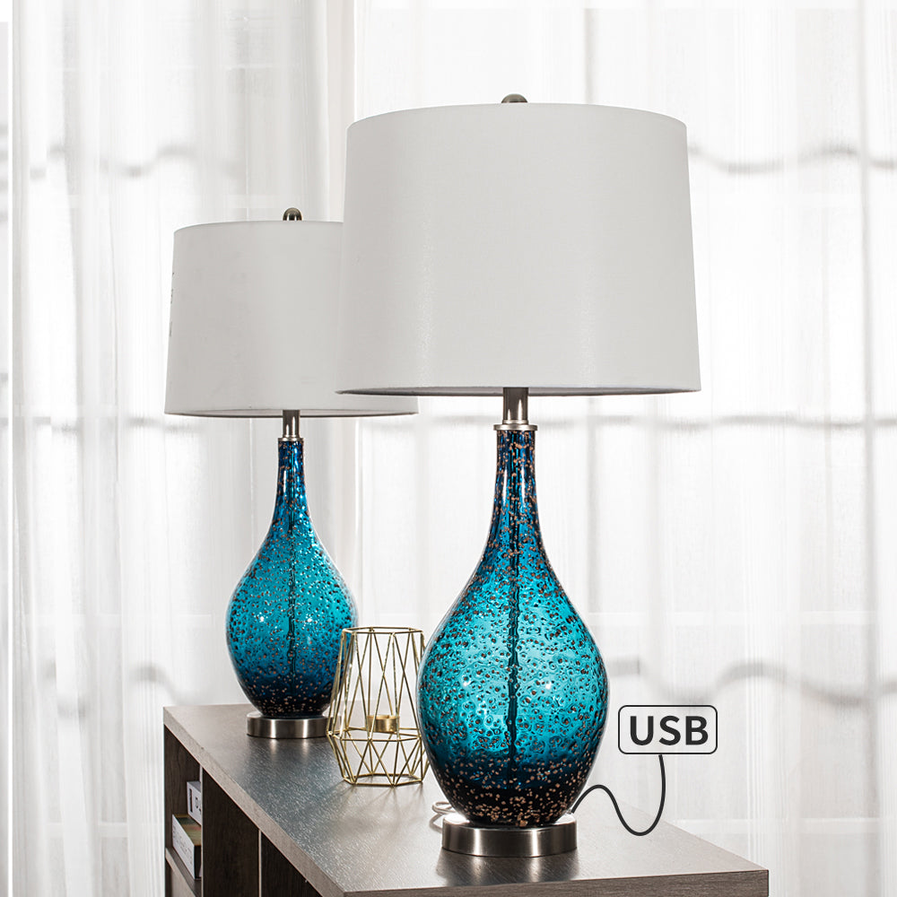 "Maxax 28"" Blue Table Lamp Set with USB #T19-DB"