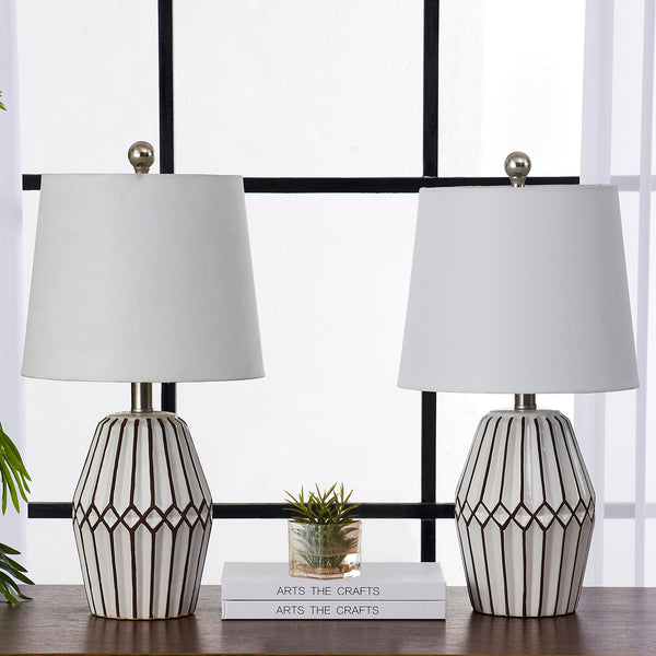 "Maxax 20.5"" White/Brown Table Lamp Set (Set of 2)#T35-WH"
