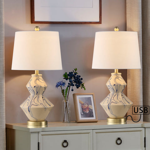 "Maxax 22"" White Bedside Table Lamp with USB (Set of 2) #T39-CE"
