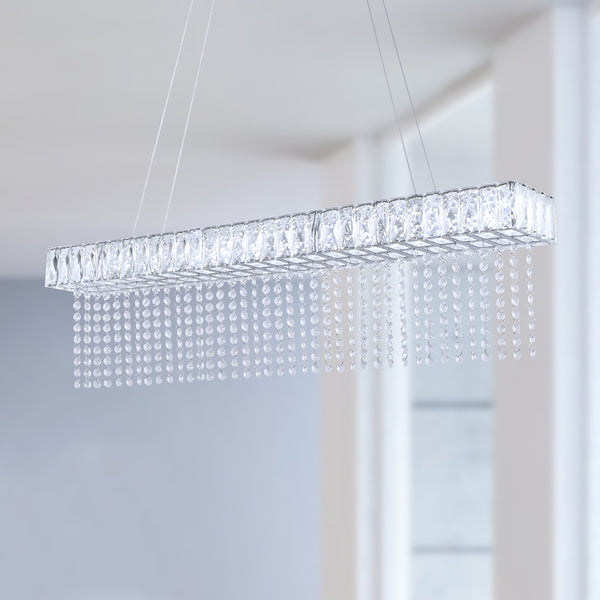 Maxax  1 - Light Unique Rectangle LED Crystal  Chandelier #YX-11