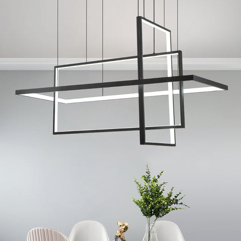 Maxax 3 - Light Unique Rectangle LED Chandelier #YX-13