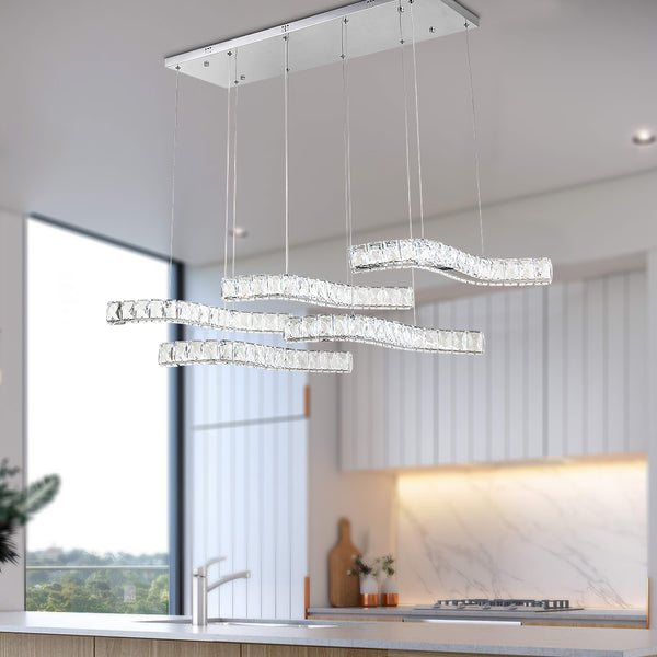Maxax 5 - Light Statement Square / Rectangle LED Crystal Chandelier#YX-14