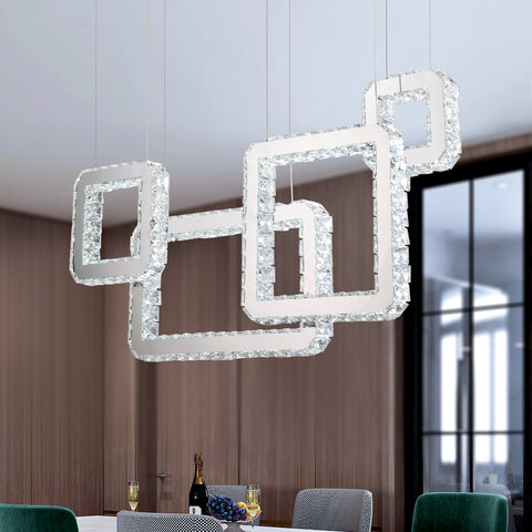 Maxax 4 - Light Statement Square / Rectangle LED Crystal Chandelier#YX-16