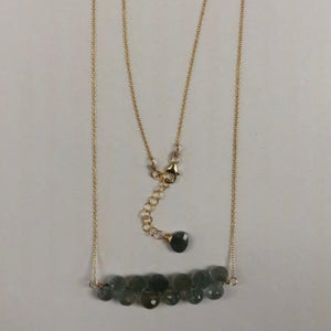 Moss Gemstone Row Necklace