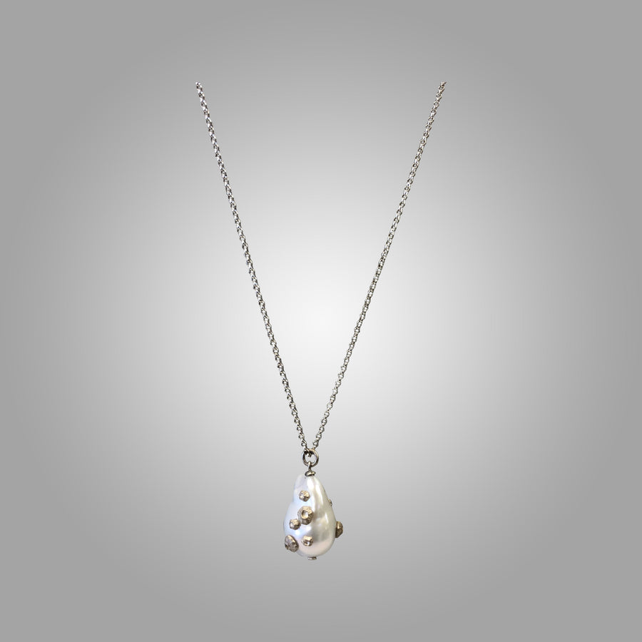 Grand White Baroque Pearl Necklace with Barnacles