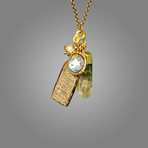 Labradorite, Herkimer diamond Long Chain