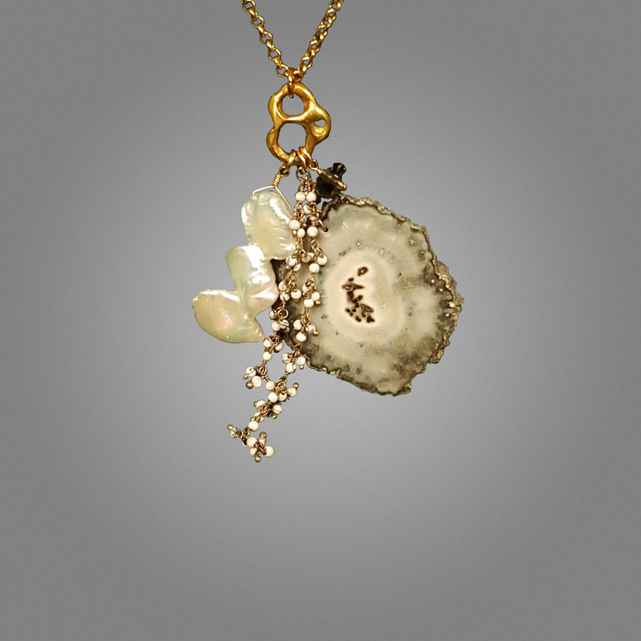 Jasper Stalactite and Pearl Necklace
