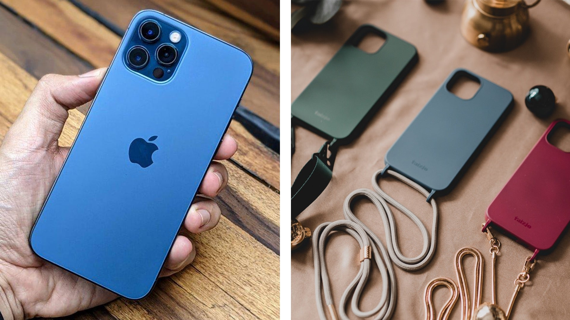 Taizjo EDEN Modular Phone Sling Case for iPhone 12 and iPhone 12 Pro with detachable Lanyard Strap, Dacron Cord and Luxchain
