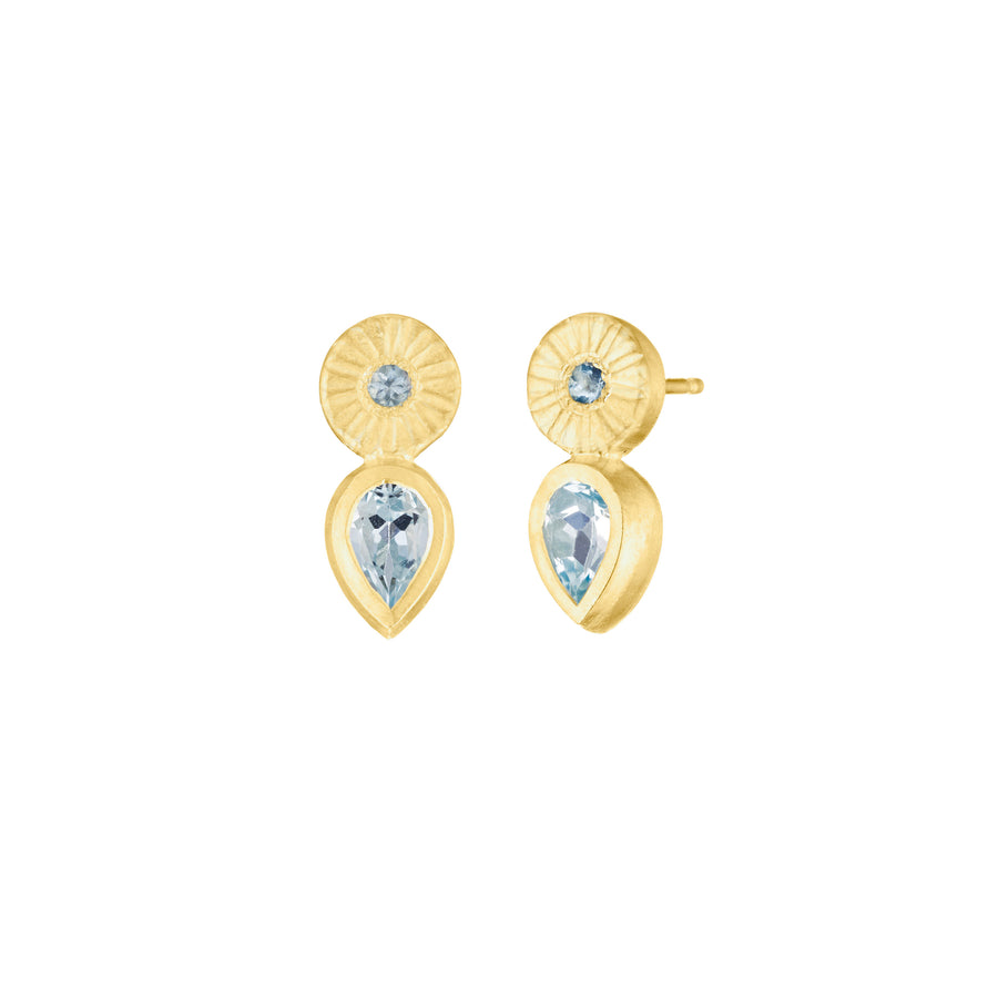 Aquamarine Pear Stud Earring