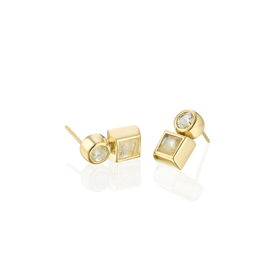 Routilated Quartz Stud Earring