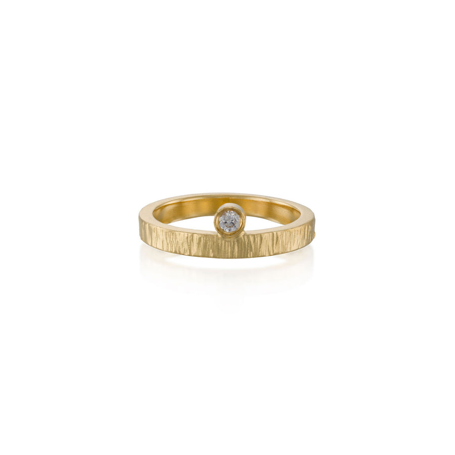 Solitaire Diamond Hammered Ring