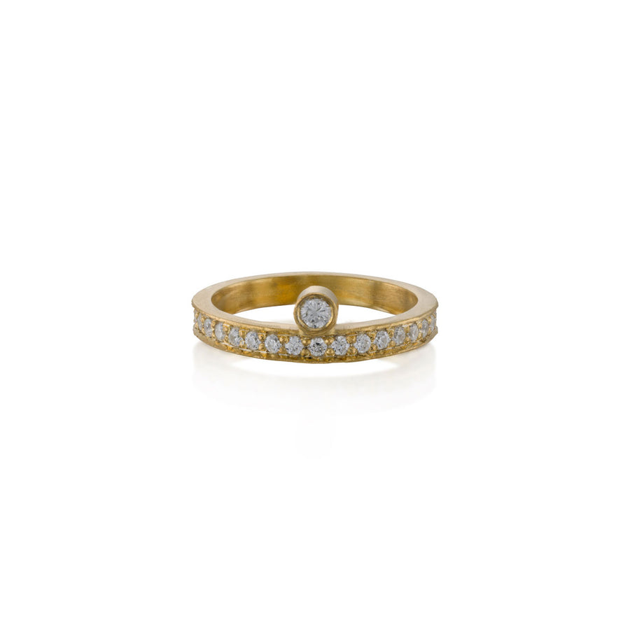 Diamond Solitaire with Pave Line Ring