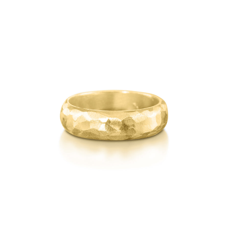 Wide Hammered Yellow Ring