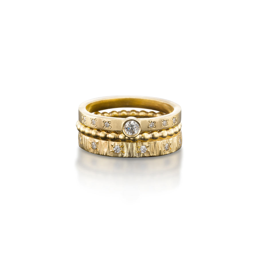 Diamond Yellow Crown Ring with Engagement Solitaire