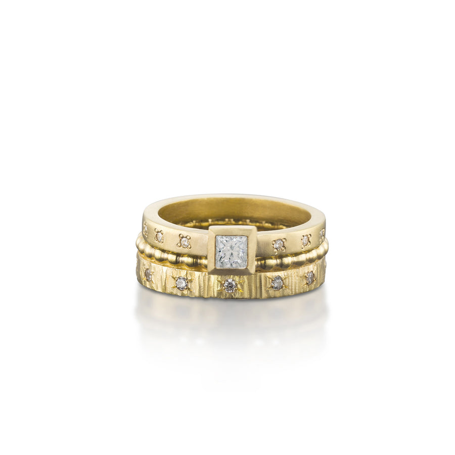 Princess Cut Diamond With Eternity Crown Ring