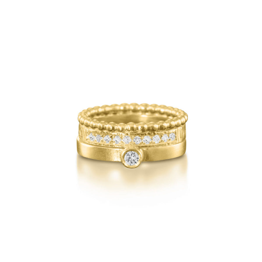 Diamond Pave Yellow Crown Ring with Solitaire Set