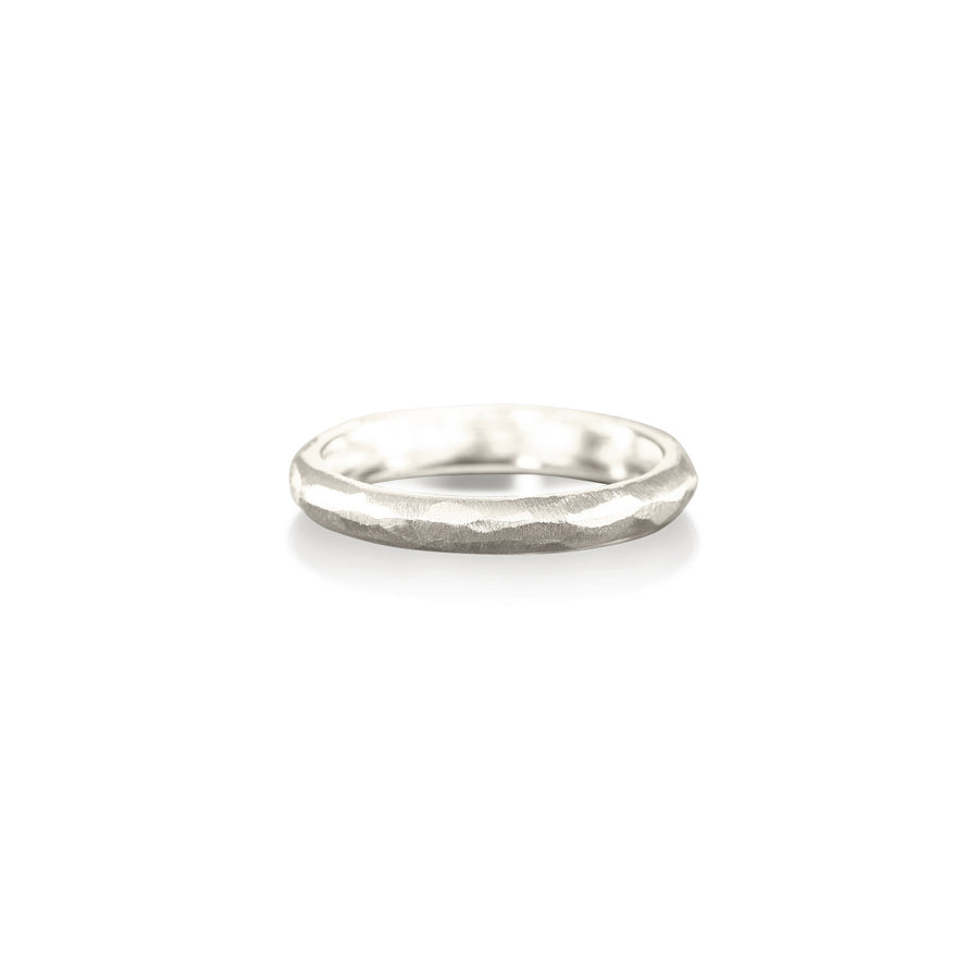 Hammered Faceted White Ring Band