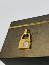 Load image into Gallery viewer, 18k Roberto Coin Yellow Gold Lock with Diamonds Necklace.