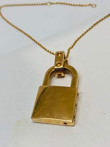 18k Roberto Coin Yellow Gold Lock with Diamonds Necklace.