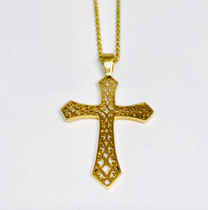14 kt Yellow Gold Necklace With 14 kt Yellow Gold Cross Pendant