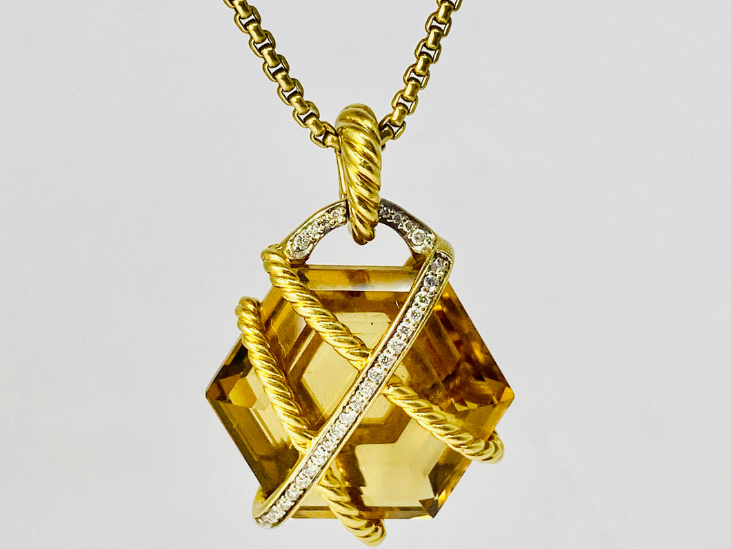 David Yurman 18 kt Gold Citrine & Diamond Cable Wrap Pendant With Necklace