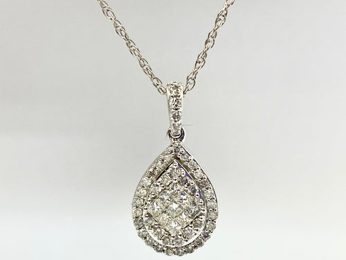 10 kt White Gold Tear Drop Diamond Necklace