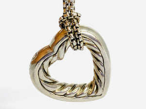 David Yurman Silver and Gold Open Heart Pendant with Cable Chain Necklace