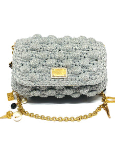 Dainty Dolce & Gabbana Crochet Silver Flap Shoulder Bag w/ Charms on Chain Strap