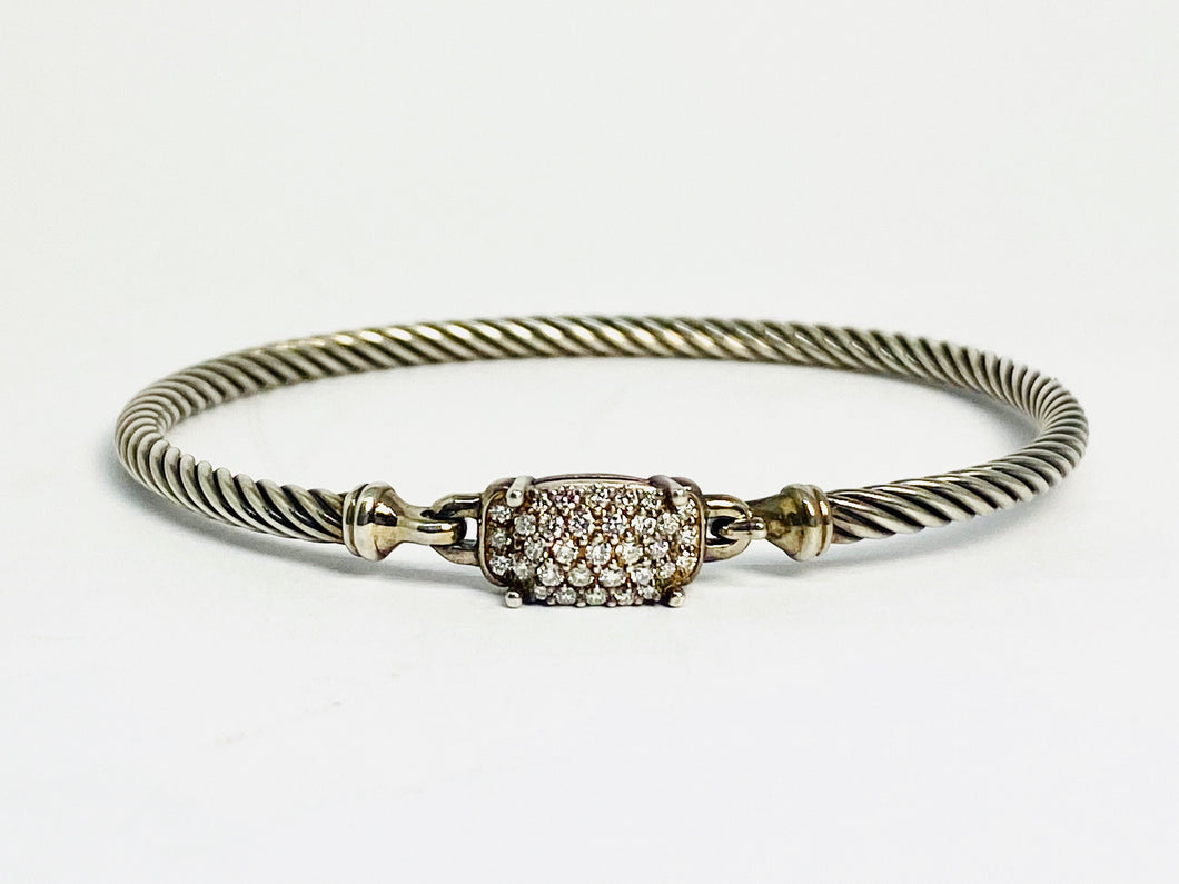 David Yurman Silver Petite Wheaton Bracelet with Diamonds
