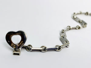 Cartier 18 kt White Gold Fidelity Heart Key Bar Link Bracelet with Matching Key