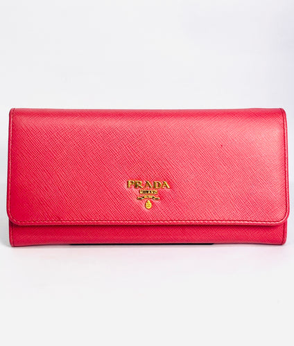 PRADA Saffianob Pink Leather Flap Wallet