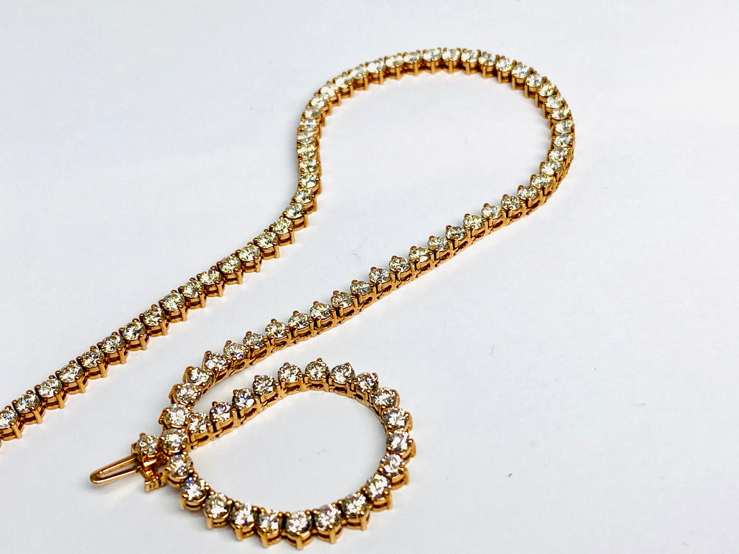 14 kt Rose Gold Diamond Necklace 16 Inches Long