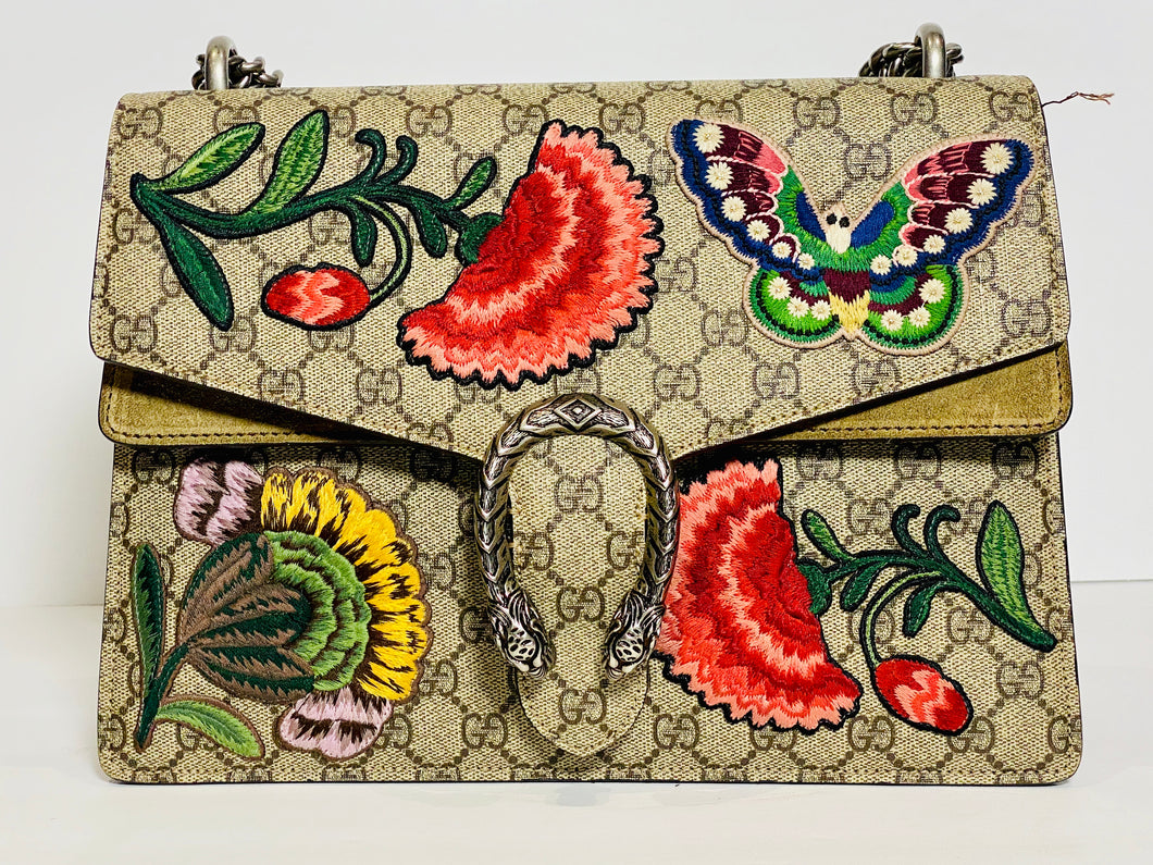 Gucci GG Supreme Canvas Embroidered Butterfly/Flowers Dionysus Shoulder Bag