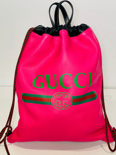 Leather GUCCI Print Backpack Tote Bag Pink
