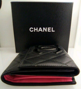 Chanel Black and Hot Pink Matrass Coco Mark Bifold Leather Wallet