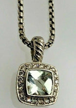 Load image into Gallery viewer, David Yurman Silver Petite Albion Pendant Necklace with Prasiolite & Diamonds