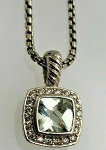 David Yurman Silver Petite Albion Pendant Necklace with Prasiolite & Diamonds