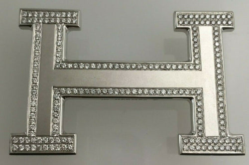 18 kt White Gold Hermes 'H' Belt Buckle with 4 ct Diamonds