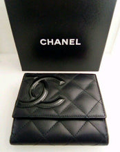 Load image into Gallery viewer, Chanel Black and Hot Pink Matrass Coco Mark Bifold Leather Wallet