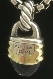 David Yurman Silver and 14 kt Gold Pendant with Amethyst and Silver Box Chain
