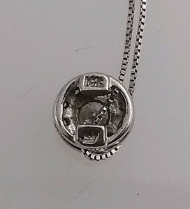 4 kt White Gold Thin Box Chain Necklace with Diamond Pendant