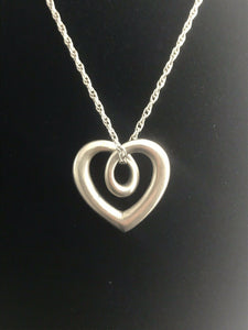 James Avery Silver Light Rope Chain w/ James Avery Silver Heart Strings Pendant