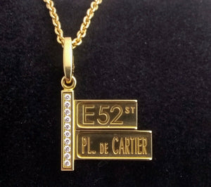 Cartier 18 kt 52nd Street Sign Diamond Pendant with 18 kt Cartier Necklace