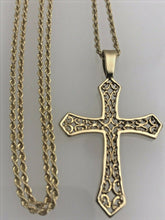 Load image into Gallery viewer, 14 kt Yellow Gold Necklace With 14 kt Yellow Gold Cross Pendant