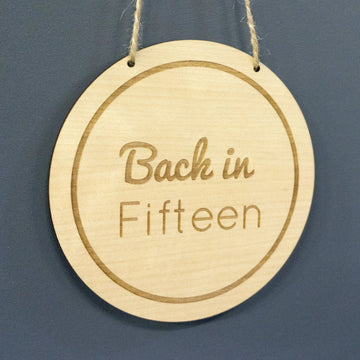 Circle Wooden Veneer Back in Sign