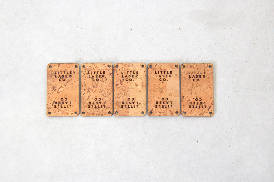Rectangle Fold Cork Fabric Tags