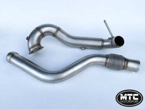 "MTC MOTORSPORT Mercedes GLA45 Decat Downpipe 3.5"" Exhaust and Mid Pipe"