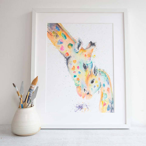 Here always rainbow giraffe framed watercolour print